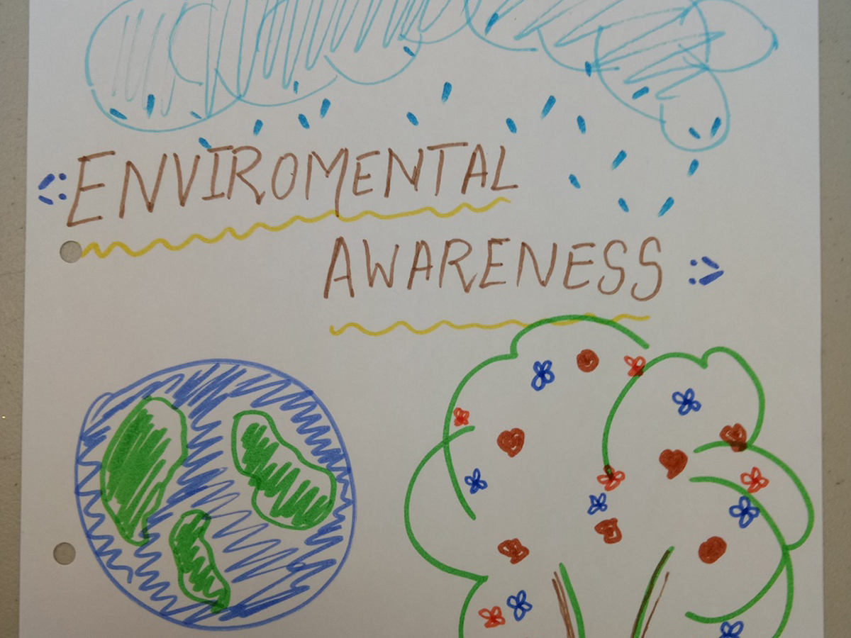 Environmental Awareness drawn poster with different colours