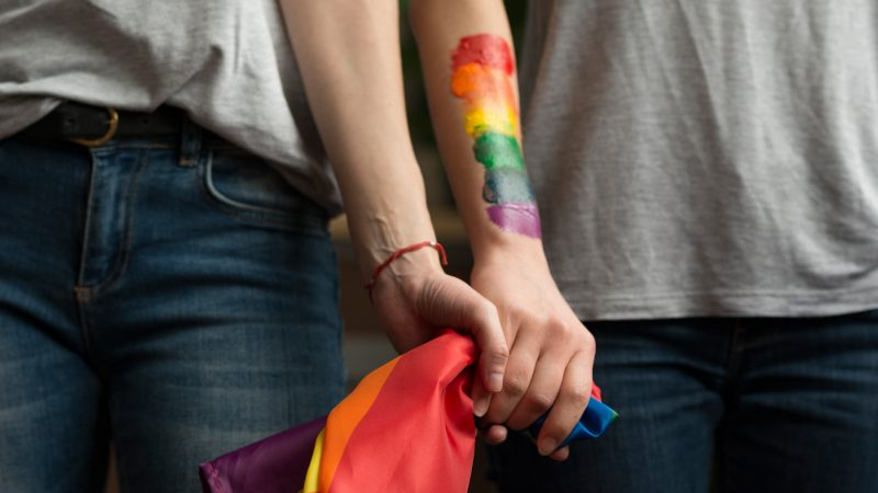 People holding hands with LGBT rainbow colours painted on their arms and holding a flag